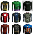 2016 New style Fitness Compression Shirt Men Superman/Hulk Bodybuilding Long Sleeve 3D pullover Crossfit Tops Shirts