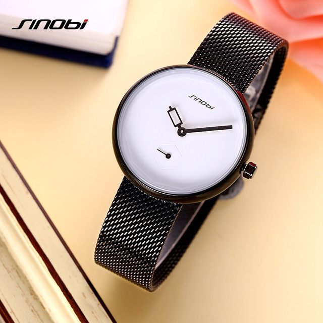 SINOBI Women Watches Top Brand Creative Dial Classic Mesh Stainless Steel Band Casual Ladies Quartz Ultra Thin Watch Reloj Mujer