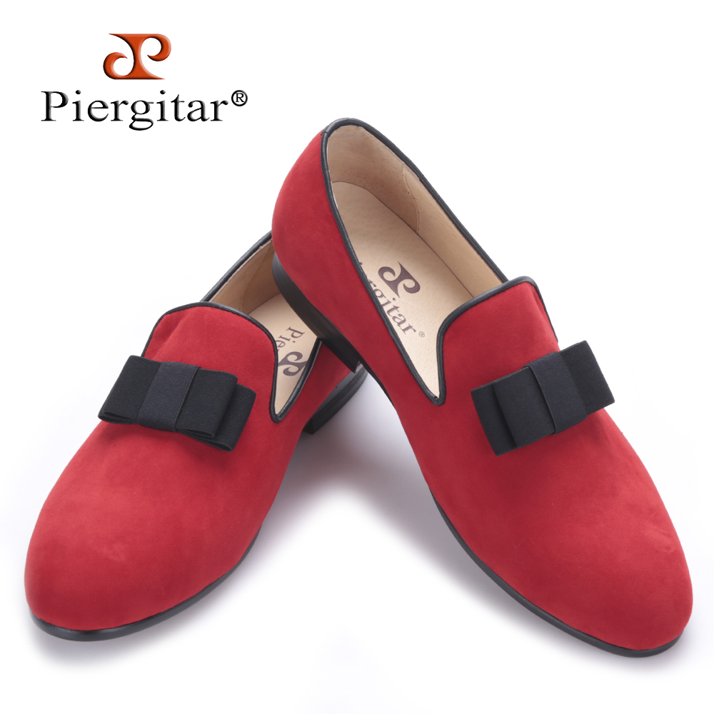 Piergitar new style red and black color with bow-knot Handmade Men velvet shoes  Banquets and Prom men Loafers men's Flats new arrival dreambox cow suede shoes gold and black rivets fashionable parties and banquets men s shoes european style smok