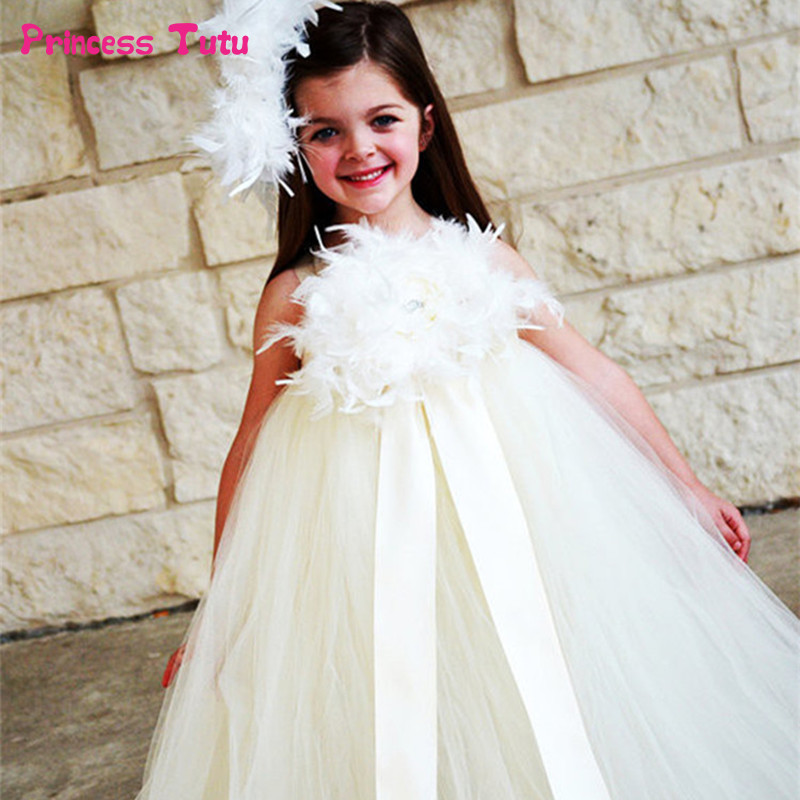 Princess Girls Feather Flower Tutu Dresses For Girls Pink,White Flower Girl Dresses Kids Wedding Birthday Party Ball Gown Dress kids tutu dress girl flower dress 2016 summer girls party dresses with gloves fashion dance dress kids girls clothes ball gown