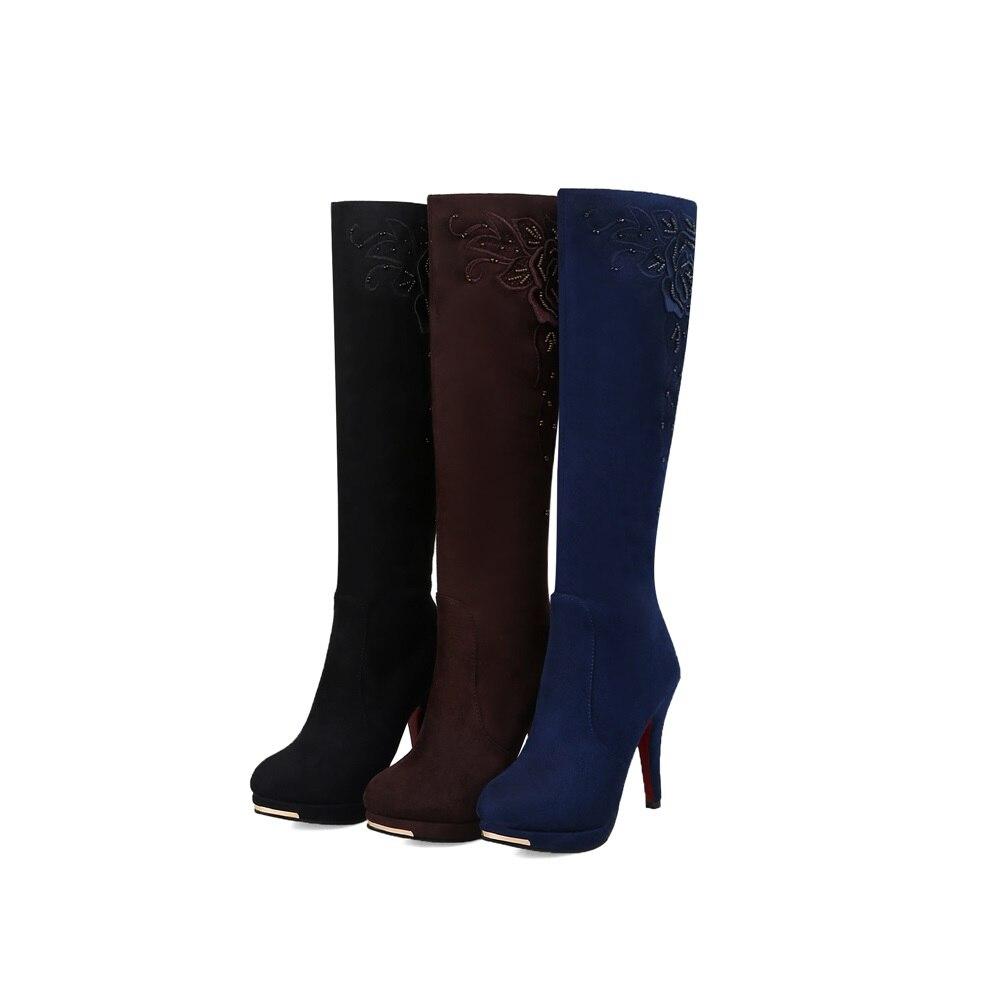 Bottes En Haute Nubuck Mode Classique 44 Morazora Neige Plate Hiver Femmes Noir forme Cuir 34 Flock Chaussures bleu marron Genou Plus Taille Talons n0qwPX87