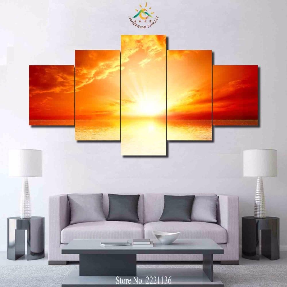3-4-5 панелей/подожгли закат Морской HD с Краски украшения дома Гостиная или Спальня холст принт Краски ing стены картину