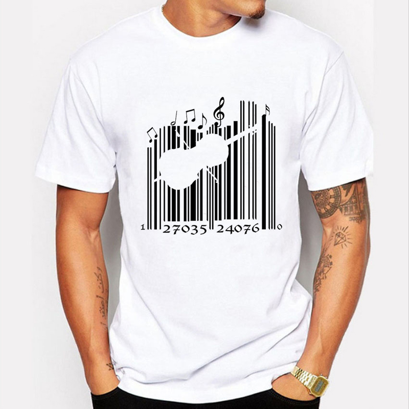 Newest 2016 Fashion Creative Barcode Design T shirt Men T-shirt Harajuku Music Tee Shirt Men's Funny Tshirt Short Sleeve Tops