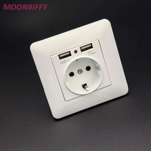 Best Dual USB Port 2.1A Wall Charger Adapter EU Plug Socket Power ...
