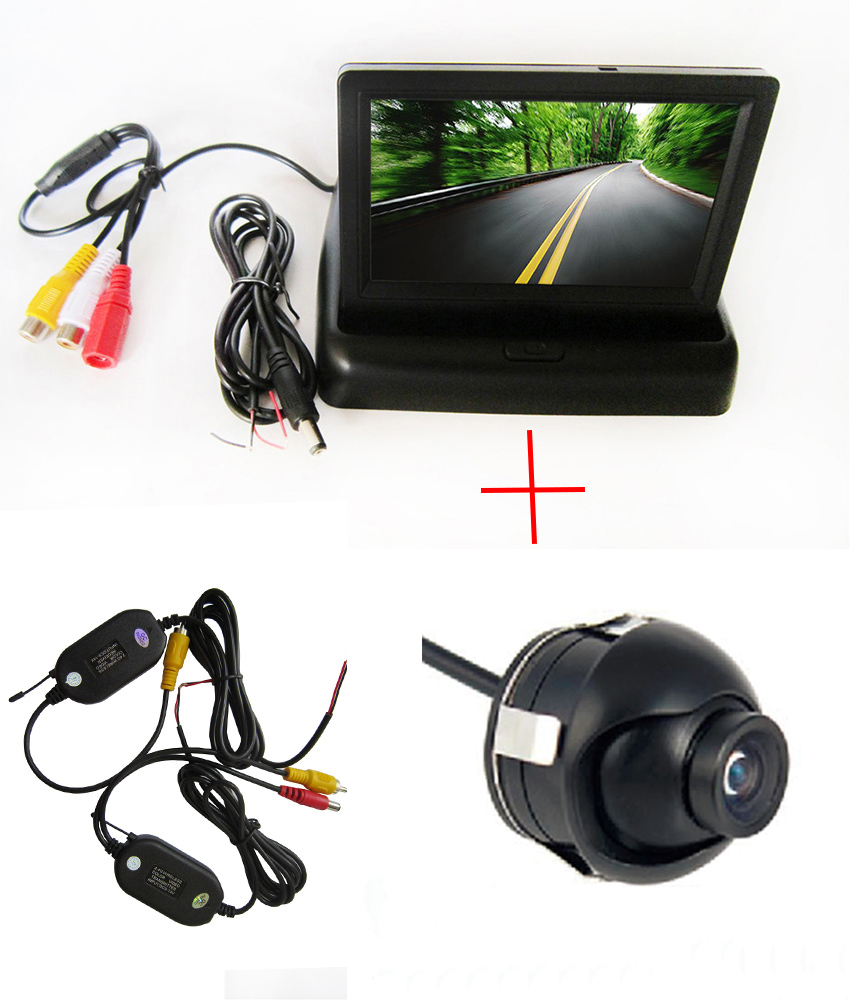 Мини парковочная камера, wifi камера, беспроводная SONY CCD Автомобильная камера заднего вида 360 градусов, 4,3 TFT lcd цветной монитор