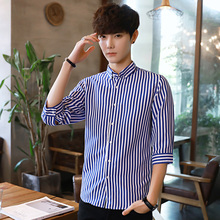 Men's Long Sleeve striped shirt with self-cultivation Spring Festival Casual coat