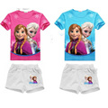 Fashion princess elsa and anna printed tops cartoon pants 2pcs outfits set toddler girls clothes sets