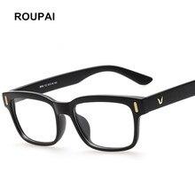 ROUPAI Moda Eyewear do Frame Ótico para Homens Mulheres Óculos Quadrados óculos óculos Frames Limpar Falso 8084