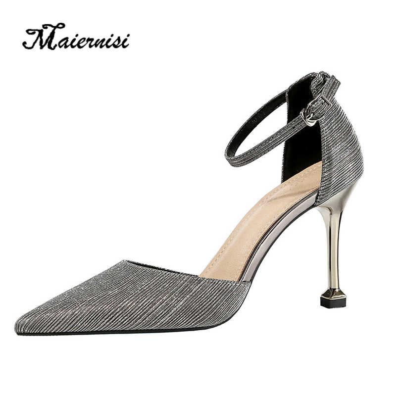 Maiernisi Đầm Giày Cao Gót Xuồng Giày Giày Cưới Mới Feminino Mùa Hè Nữ Giày Nữ Mũi Nhọn Bơm Cho Nữ