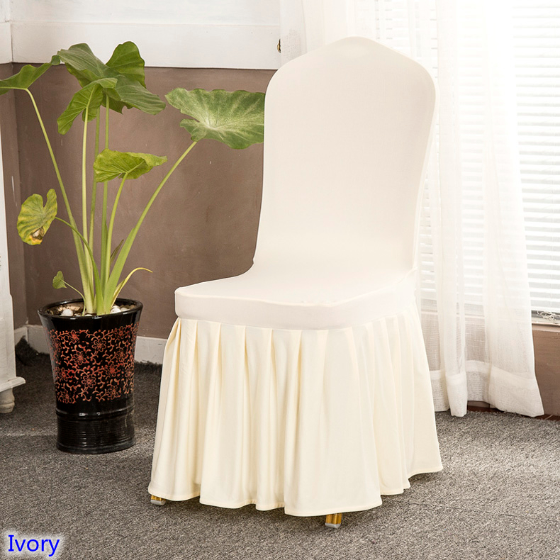 Ivory Colour Lycra Chair Cover With Skirt All Around The Chair Bottom Spandex Skirt Chair Cover For Wedding Party Decoration