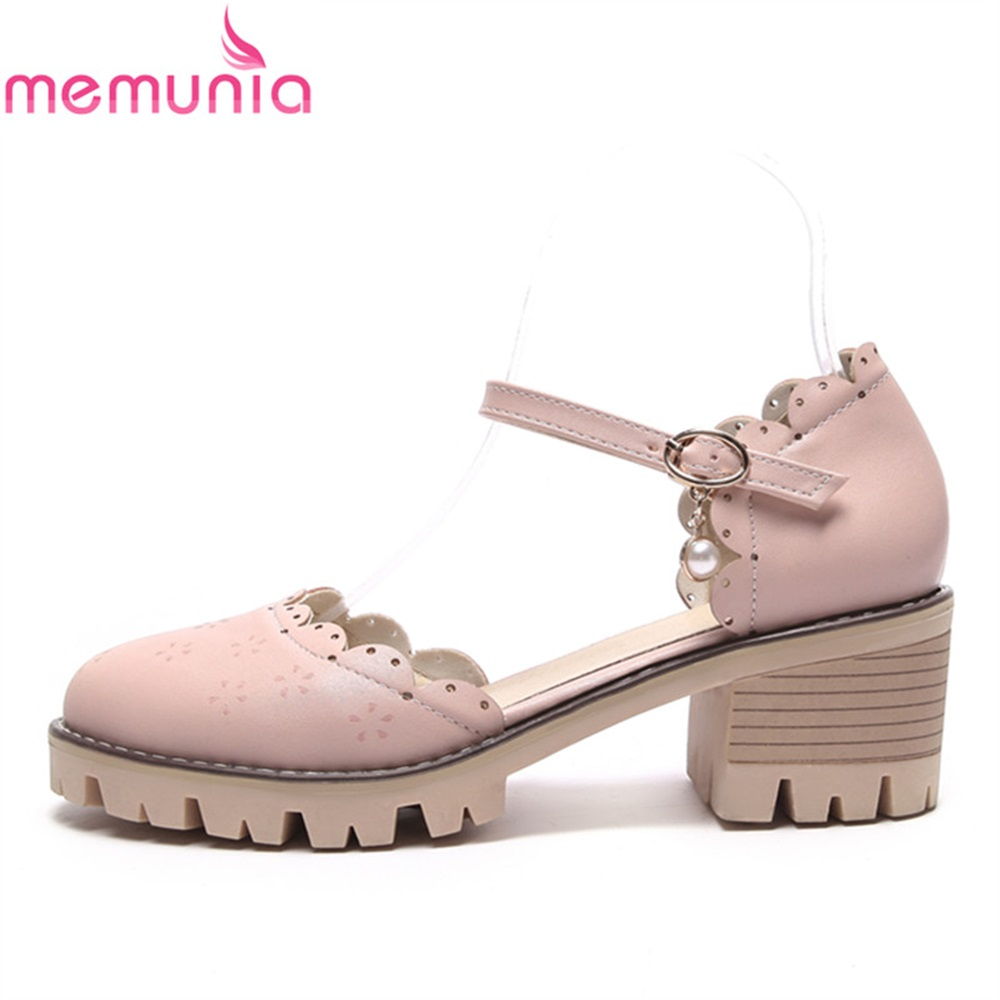 MEMUNIA women shoes spring autumn pu thick heels round toe unique new arrive sweet comfortable buckle plus size casual shoes spring autumn chunky 4cm low heels sweet bow lolita girls shoes pincess round toe vintage shoes plus size