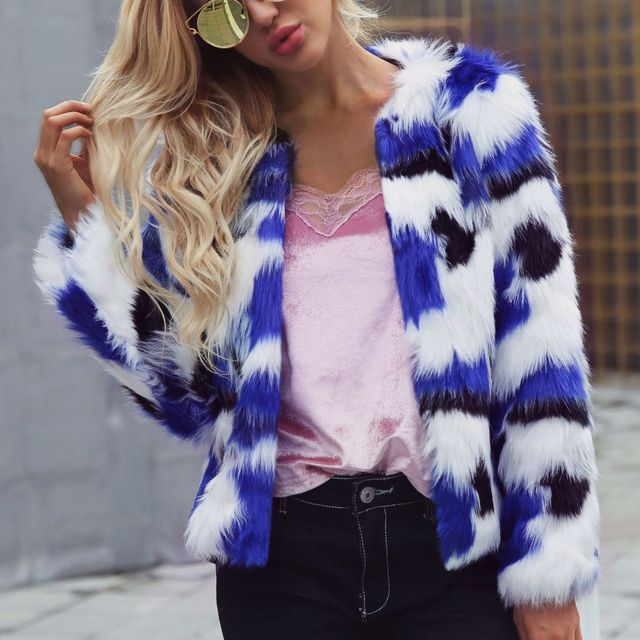 Women Mixed Color Man-Made Fur Jacket Casual Plus Size Faux Fur Coats Female  Short Section Fur Outwear Casaco De Pele F0014 71d33eaa8ea0