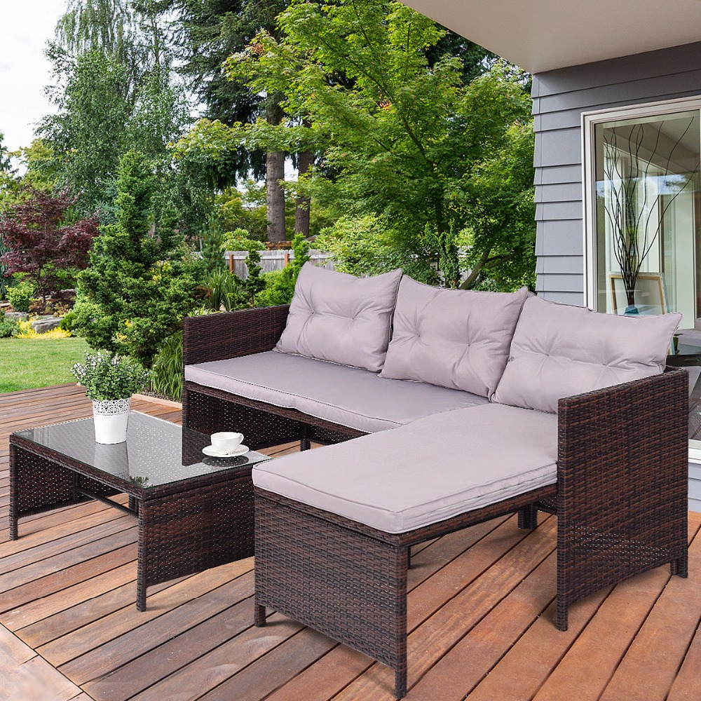 Giantex 3 PCS Outdoor Rattan Furniture Sofa Set Lounge Chaise Sofa ans Coffee Table Cushioned Patio Garden Furniture HW58535 2