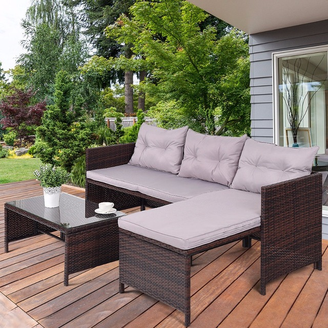 3 PCS Outdoor Chaise Lounge Sofa Set 3