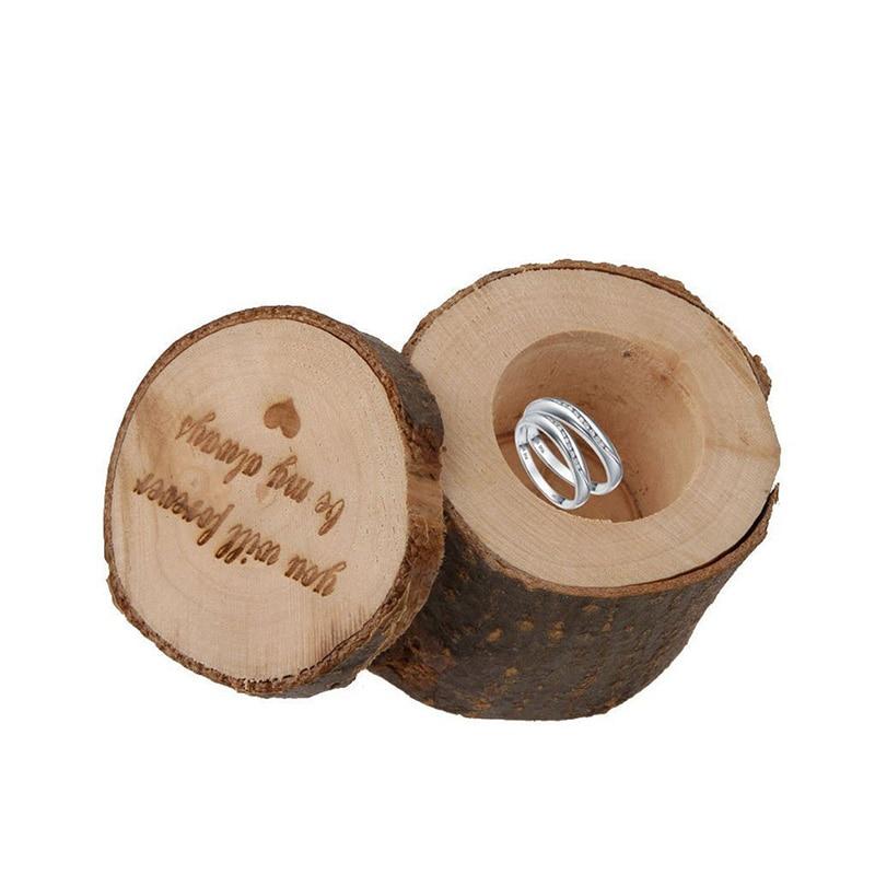 Vintage Wooden Ring Storage Box Jewelry Holder Organizer for Wedding Engagement