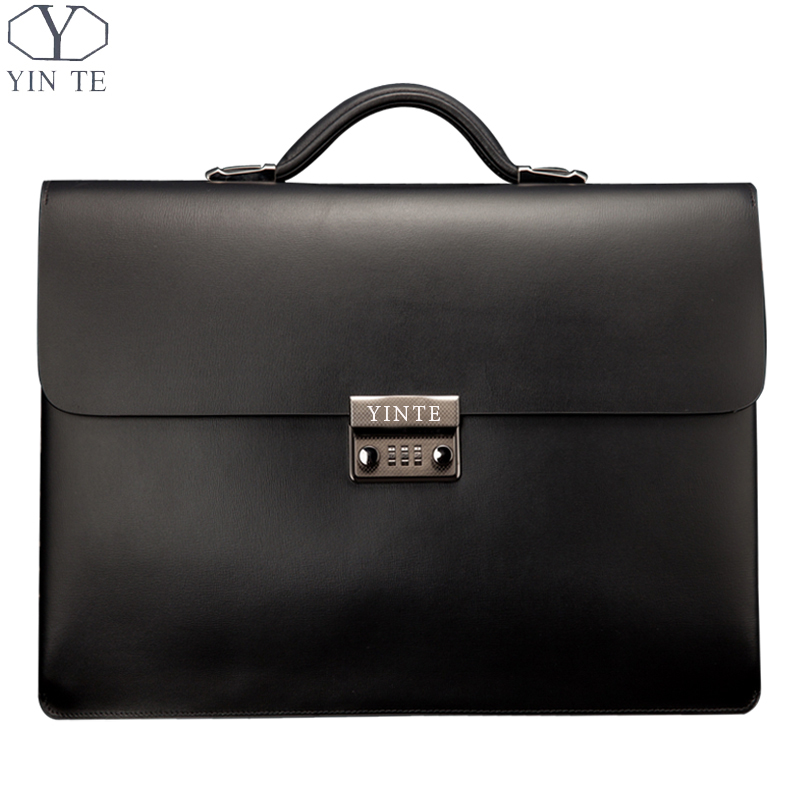 YINTE Leather Black Bag Men's Briefcase Big And Thicker Attache Case Business Messenger Shoulder  Lawyer Bag Men's Totes T8191-6 цена и фото