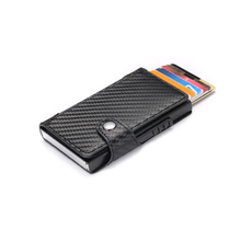BYCOBECY Slim Card Holder Carbon Fiber PU Leather Wallet RFID Blocking Men and Women for Travel Drop-shipping
