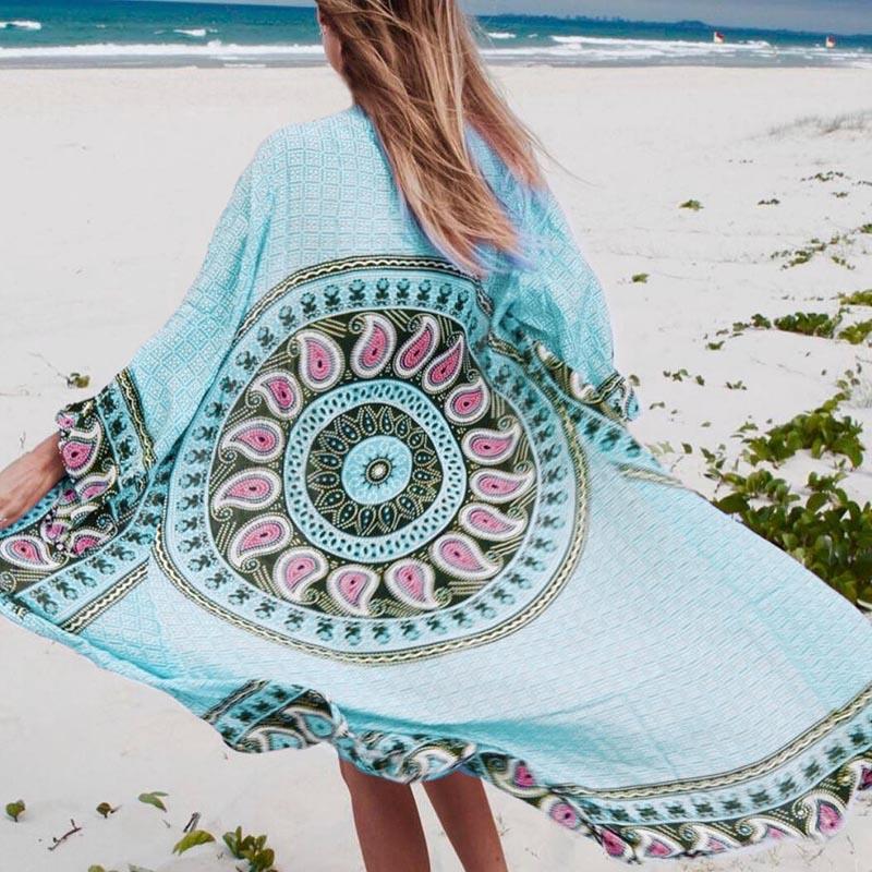 2018 Beach cover up Playa Larga algodón Vestidos túnica para playa pareos de playa impresión mujeres beachwear bikini cover arriba