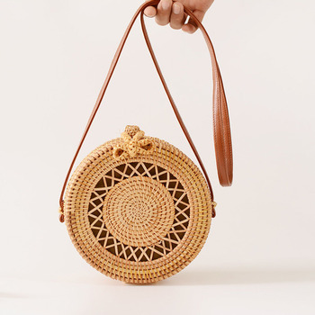 Holiday Summer Vintage Handmade Rattan Bags Straw Woven Ladies Stars Hollow Bow Shoulder Bag Weaving Beach Handbags B429 4