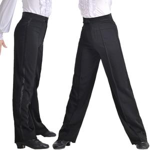 Image 3 - מקצועי גברים שחור לטיני ריקוד מכנסיים בני למבוגרים סאטן סלוניים ריקוד מכנסיים סלסה טנגו רומבה סמבה Cha Cha לטיני מכנסיים