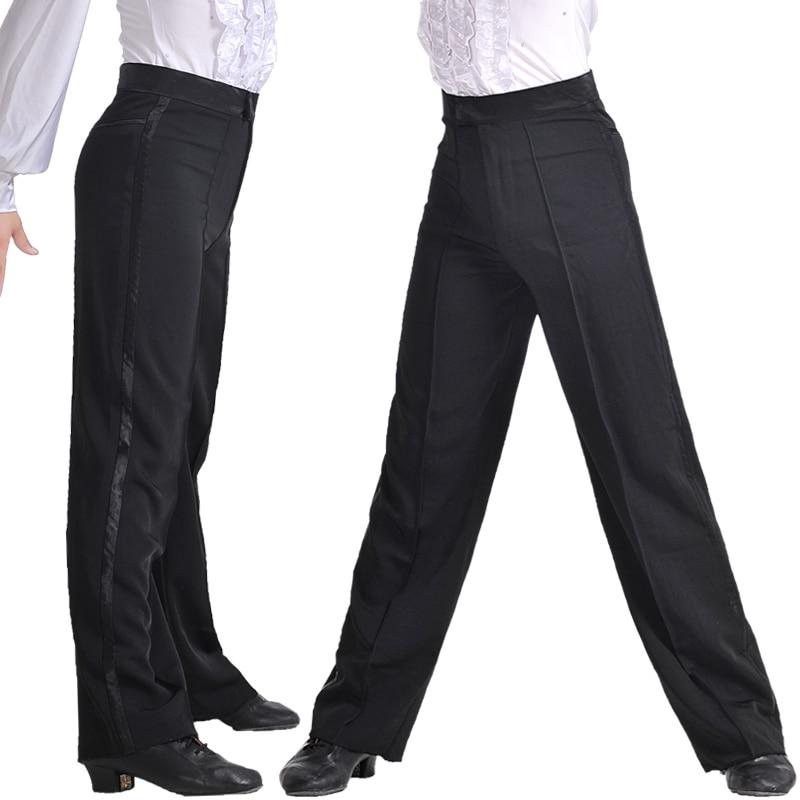 Image 3 - Professional Men Black Latin Dance Pants Boys Adult Satin Ballroom Dance Pants Salsa Tango Rumba Samba Cha Cha Latin Trouserspants anklespants convertiblepants latex -