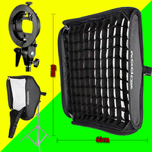 Reflexionar y Godox Flash photography la luz de la Rejilla de Nido de abeja 60 cm * 60 cm de Flash Softbox + S tipo Kit de Soporte para el Flash Speedlite Studio