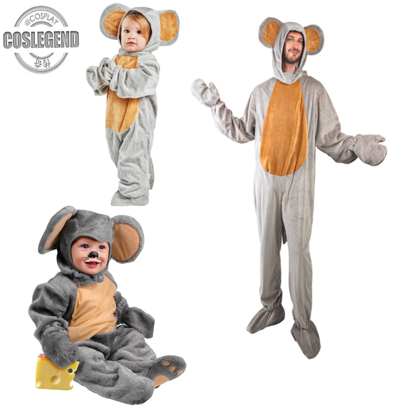 Baby & Child & Adult Soft Material Grey Mouse Costume Adult Animal Fun Party Costume