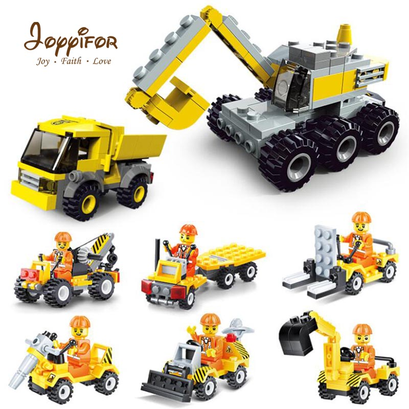 Joyyifor Construction vehicle Bulldozer Excavator Forklift Crane Building Blocks LegoINGlys Minifigure Cars Toys For Children joyyifor construction vehicle bulldozer excavator forklift crane building blocks legoinglys minifigure cars toys for children