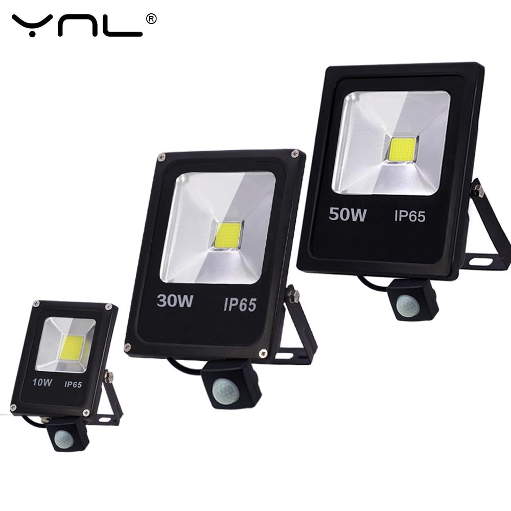 Sensor de movimento conduziu a luz de inundação 220 v 50 w 30 10 ao ar livre conduziu a lâmpada de parede holofote refletor ip65 à prova dwaterproof água iluminação