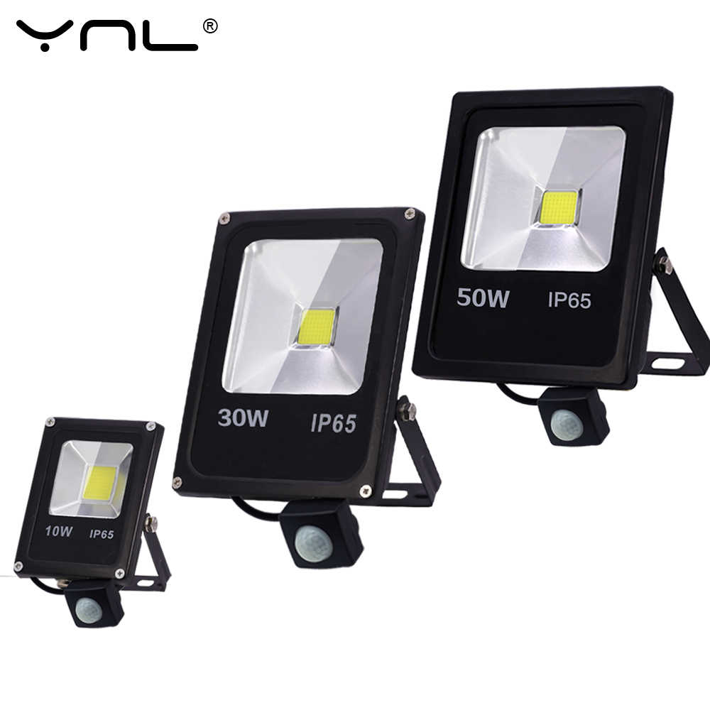 Motion Sensor Led Flood Light 220V 50W 30W 10W Outdoor LED Spotlight Floodlight Wall Lamp Reflector IP65 Waterproof Lighting