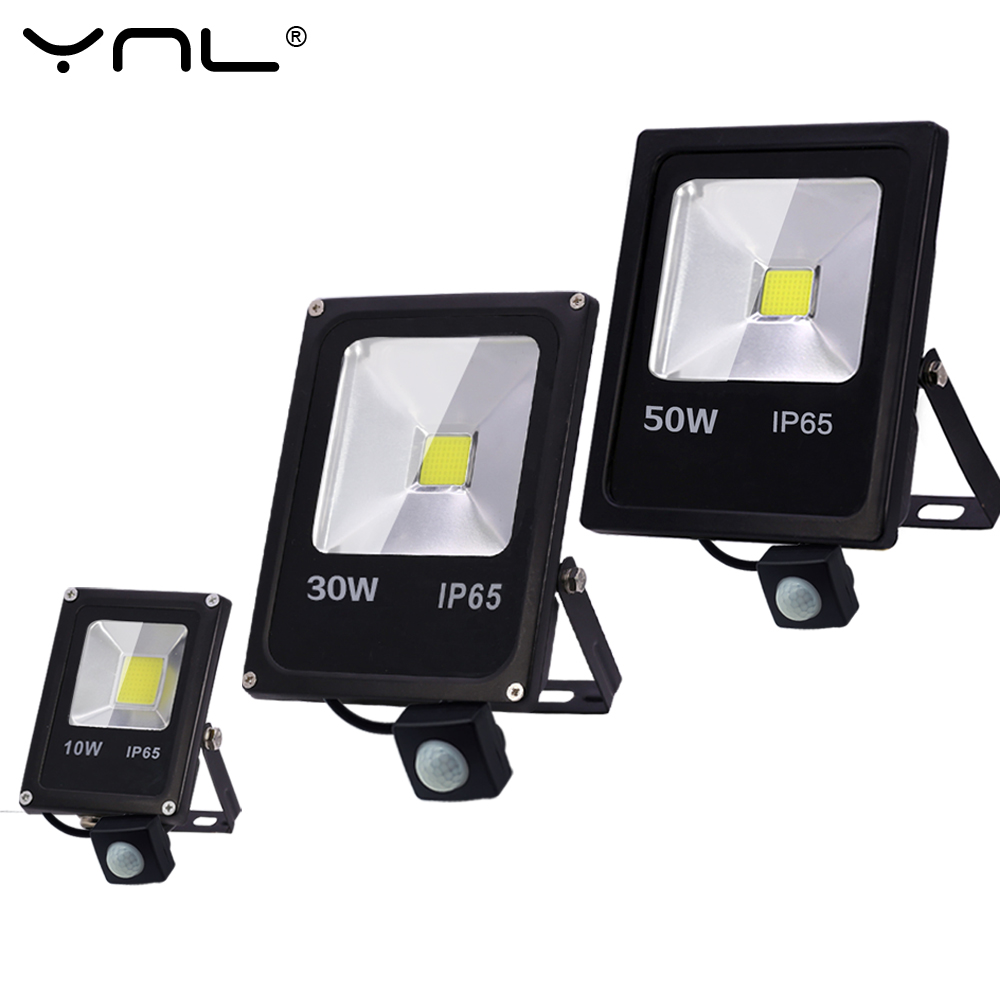 Motion Sensor Led Flood Light 220V 50W 30W 10W Outdoor LED Spotlight Floodlight Wall Lamp Reflector IP65 Waterproof Lighting