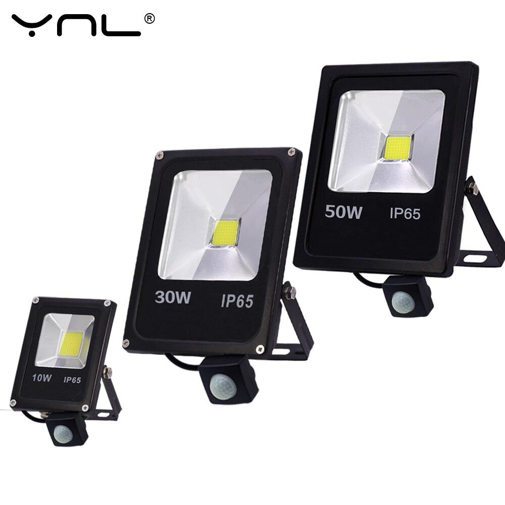 Sensor de movimiento Led Luz de inundación 220V 50W 30W 10W al aire libre LED Reflector de la lámpara de pared Reflector IP65 iluminación impermeable