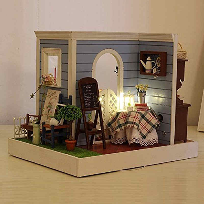 DIY LED Dollhouse Miniature DIY House Kit with Furnitures Dream House Toys Gift For Kids Children