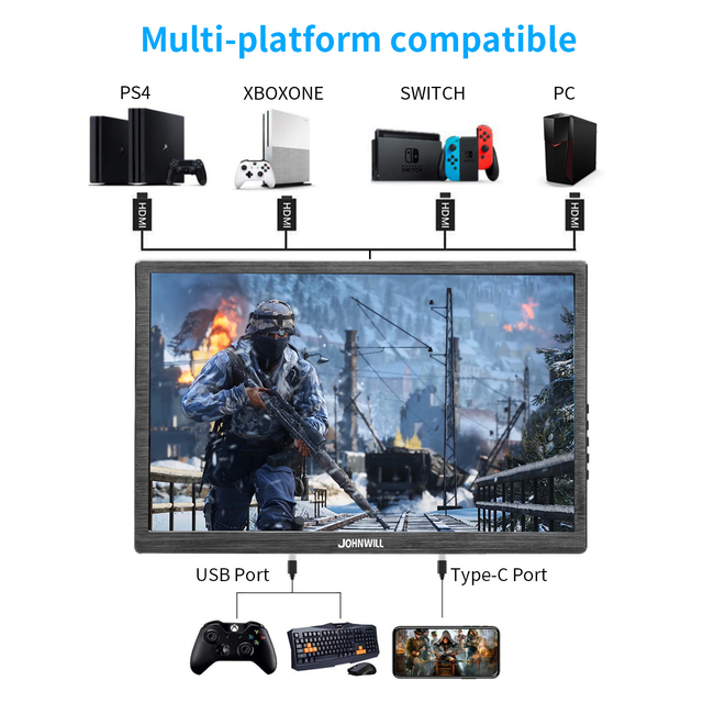 10.1 inch HD 2K touch screen Gaming monitor pc small portable LCD Display IPS 2560*1600 Type C 3