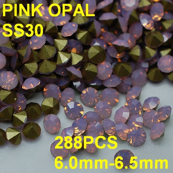SS30 288pcs/lot 6.0mm-6.5mm New Pink Color Opal Rhinestone for Women Nail Jewelry Golden Point Back