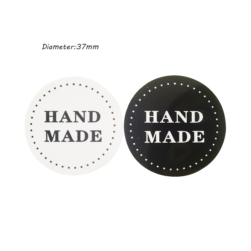 Купить с кэшбэком 80 Pcs/lot Black And White HAND MADE Round Kraft Paper Seal Stickers DIY Gifts Decoration Sealing Stickers Posted Baking Label