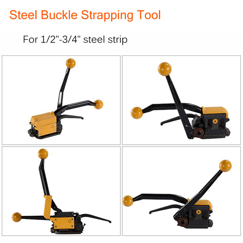 Portable Manual Steel Strapping Tool Seal Free 1/2-3/4'' Handheld Packaging Equipment Without Seals Steel Banding Machine A333 portable manual steel strapping tool seal free 1 2 3 4 handheld packaging equipment without seals steel banding machine a333