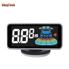 OkeyTech Auto Car Parktronic LED Digital Parking Sensor with 4 Sensors Reverse Backup Car Parking Radar Monitor Detector System