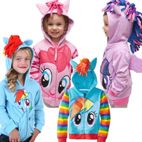 2-10y My Girls Jacket Little Pony Clothes Cute Children's Coat Cartoon Hoodies & Sweatshirts,100% Cotton Children Baby Clothing
