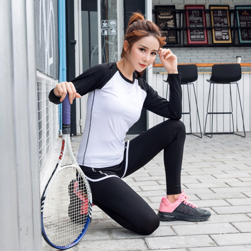3Pcs Women Quick Dry Running Sets Absorb Sweat Gym Fitness Sports Bra & Pants & Pullover Shirts Sport Yoga Set Suit Tracksuit