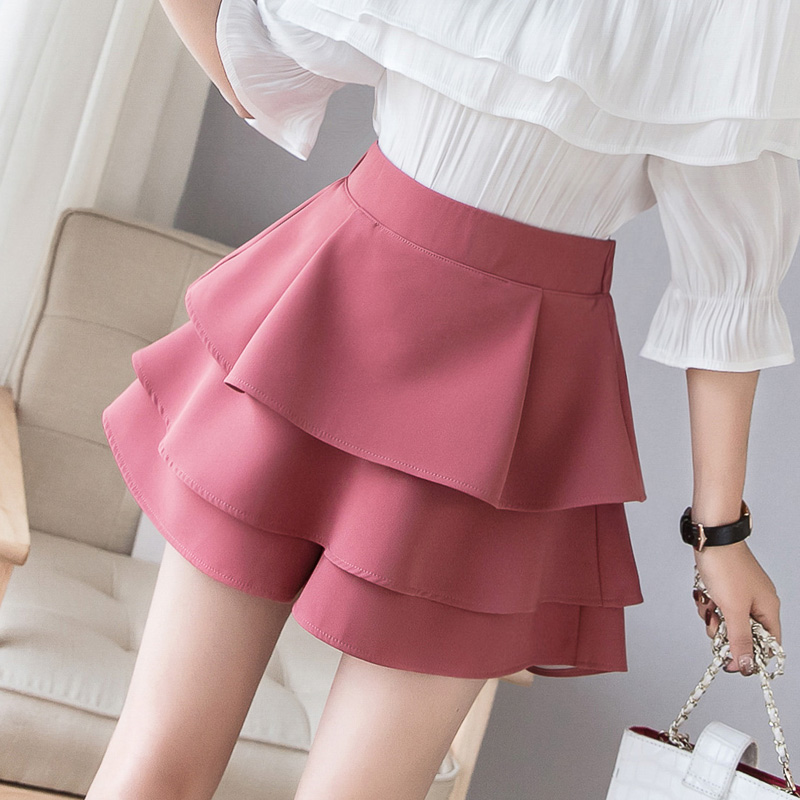 Female Tulle Shorts Skirts 2019 Spring Summer Layered Ruffles Shorts Women Cake Skirt Shorts High Waist Wide Leg Cupcake Shorts