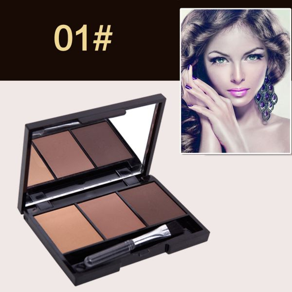 Hot Professional Kit 3 Color Eyebrow Powder Shadow Palette Enhancer with Ended Brushes 6