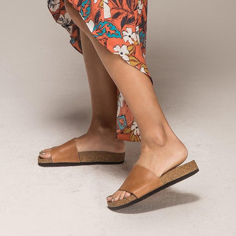 BeauToday รองเท้าแตะผู้หญิงหนังวัวแท้หนังวัวแท้ส้นแบนฤดูร้อนกลางแจ้งหญิงรองเท้าทำด้วยมือคุณภาพสูง 34009-ใน รองเท้าใส่ในบ้าน จาก รองเท้า บน   2
