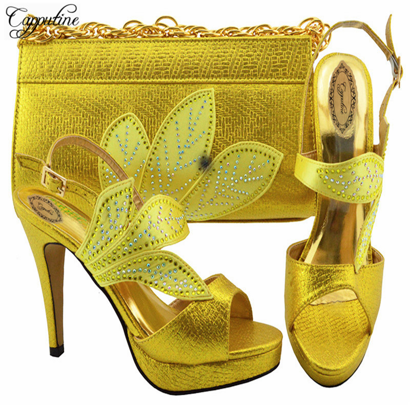 Capputine Summer African Rhinestone Biggest Size 38-43 Shoes And Bag Set  African Wedding Shoe and Bag Set Shipping DHL  YK1068