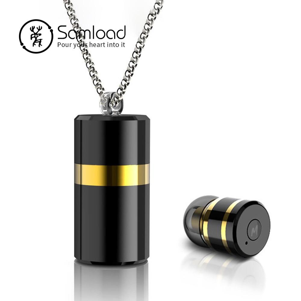 Samload Senza Fili Mini Auricolare Bluetooth Stereo Auricolari Mic Pendente Collana Auricolare Per Cuffie di Metallo Con Scatola di Immagazzinaggio Per il iphone
