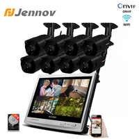 Jennov Wireless Sistema di Telecamere di Sicurezza 8CH 1080 P 12 LCD NVR 2.0MP Video Kit di Sorveglianza Esterna Audio CCTV di Wifi casa di Sicurezza
