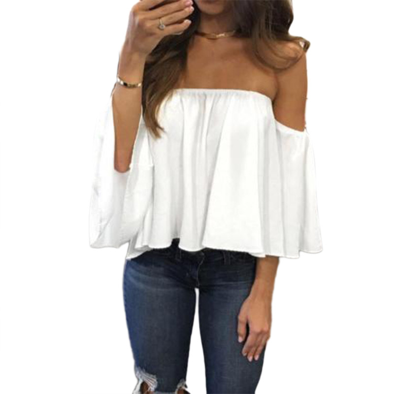 US $4 23 Stylish Women Off Shoulder Casual Blouse Shirt Tops