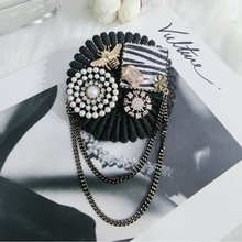 2018 Nuovo Retrò Corea Strass Pins Perla Arco Ape Pizzo Nero Donna Spille Spilla in Cristallo Per Le Donne Accessori Dress P083(China)