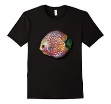 Psychedelic Colorful Discus Fish Vintage Retro Cool T Shirt Summer Short Sleeves Cotton Fashiont Shirt Men O Neck Tee Shirt(China)