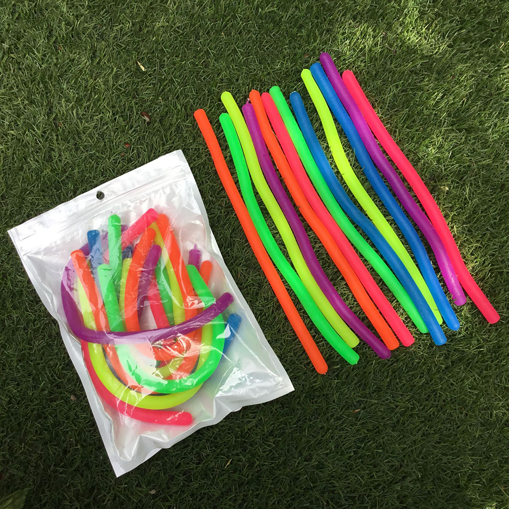 6pcs TPR Soft Noodle Elastic Rope Toys Decompression Artifact Vent Rope Neon Slings Anti-stress Toys Random Color